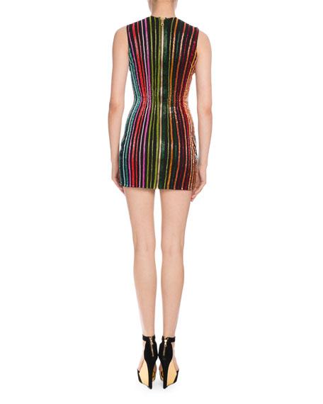 Beaded-Stripe Sleeveless Minidress