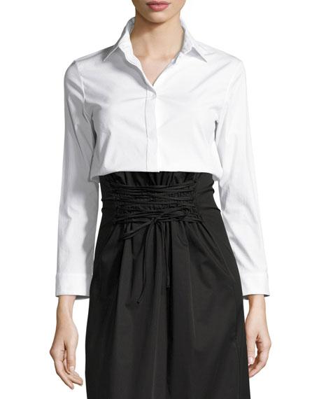 Zetra Bracelet-Sleeve Blouse, White