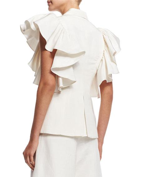 Ruffled Sleeveless Jacket, Ivory