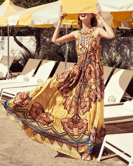 Beaded Silk Keyhole Maxi Dress, Yellow