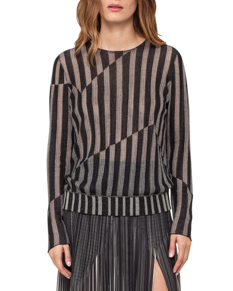 Pieced Stripe Knit Pullover Top, Black