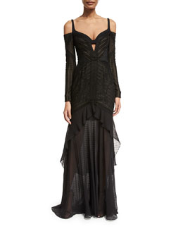 Mixed-Lace Cold-Shoulder Gown, Black (Noir)