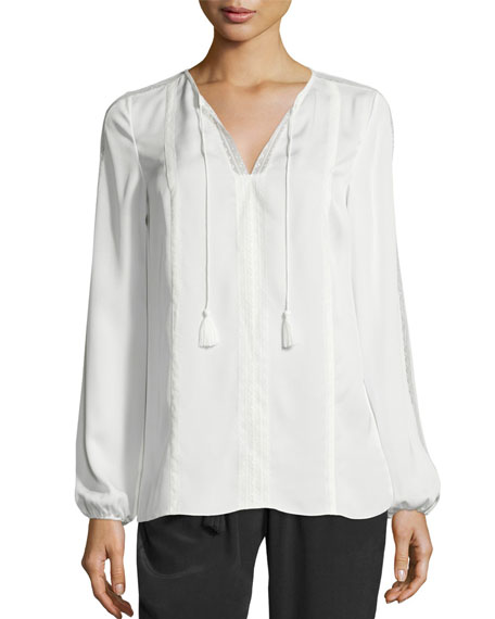 Elie Tahari Josette Long-Sleeve Lace-Trim Silk Blouse