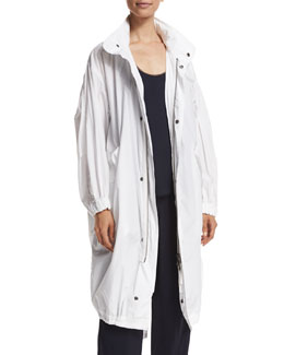 Long Cotton Twill Anorak, White