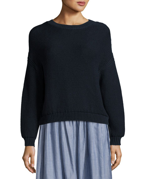 Open-Knit Drop-Shoulder Pullover Sweater