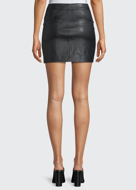 Straight Leather Mini Skirt