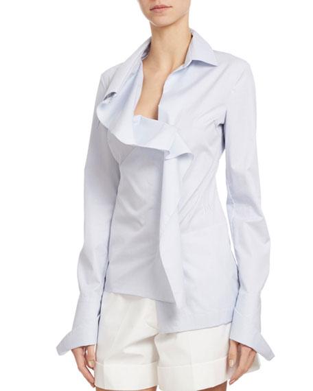 Striped Dobby Asymmetric Blouse, Blue/White