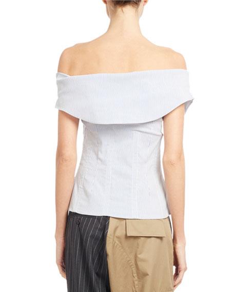 Striped Off-Shoulder Corset Top, Blue/White
