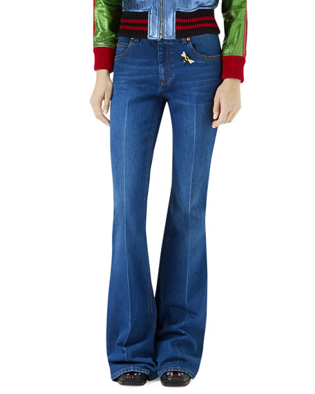 Flare-Leg Jeans with Bee & Butterfly Patches, Blue
