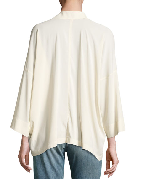 Oversized Split-Neck Blouse