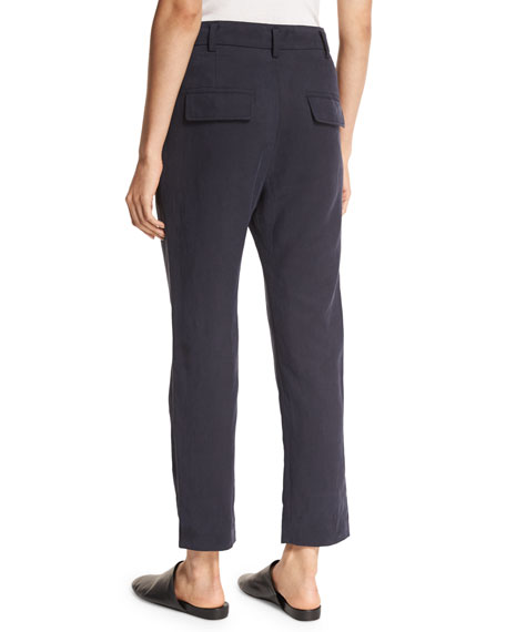 Slouchy Linen-Blend Cropped Trousers