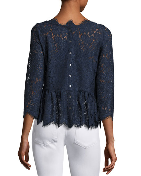 Koda Lace 3/4-Sleeve Peplum Top