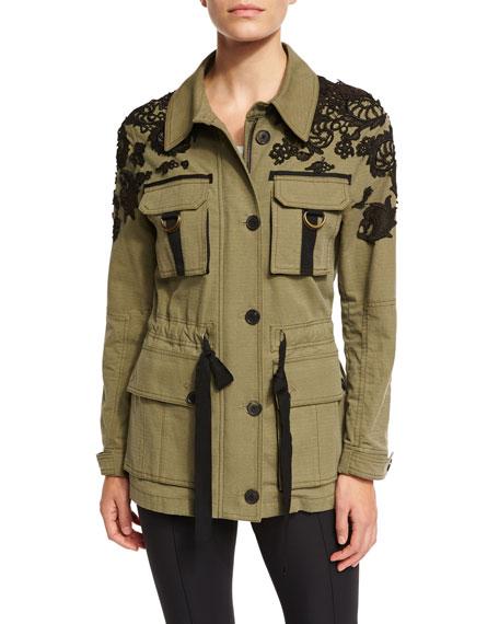 Heritage Lace-Trim Utility Jacket, Olive