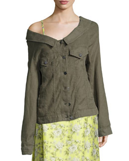 Off-the-Shoulder Long Jacket, Olive