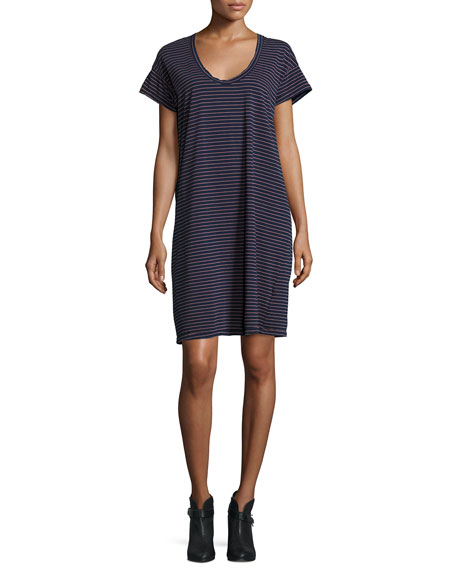 Current/Elliott The Slouchy Scoop-Neck T-Shirt Dress, Navy Sonic