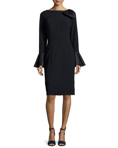 Bell-Sleeve Crepe Sheath Dress  Navy