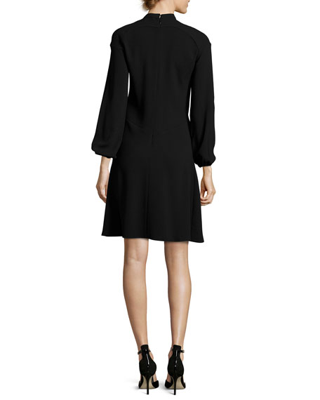 Long-Sleeve Pleated-Front Dress