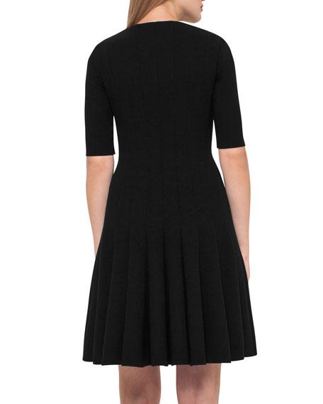 Elbow-Sleeve Zip-Front Dress