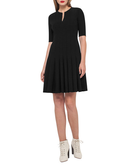 Elbow-Sleeve Zip-Front Dress