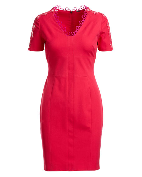 Ainsley Short-Sleeve Lace-Trim Sheath Dress