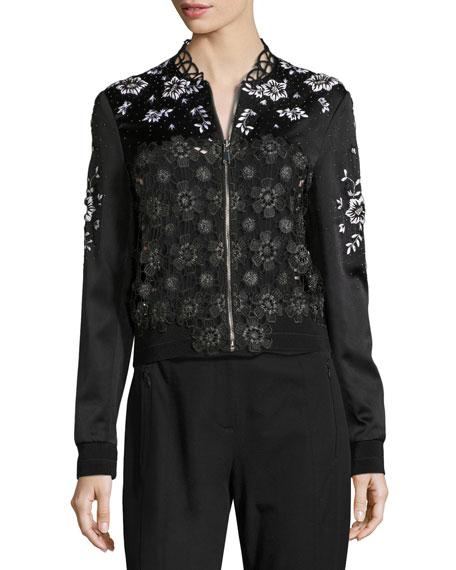 Brandy Floral Lace Bomber Jacket, Black
