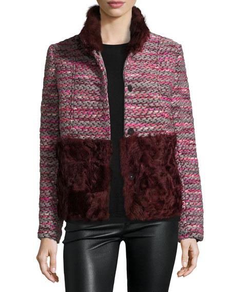 Boxy Tweed & Shearling Coat Fur