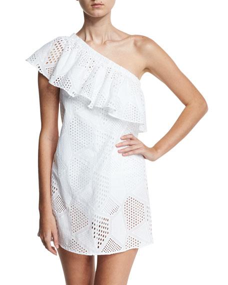 Cotton Eyelet One-Shoulder Coverup Dress, White