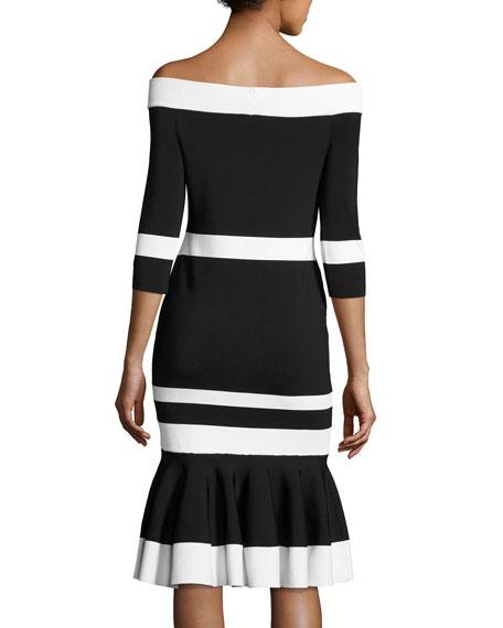 Bold-Stripe Off-the-Shoulder Trumpet Midi Dress, Black/White