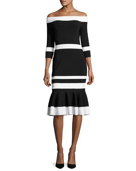 Bold-Stripe Off-the-Shoulder Trumpet Midi Dress, Black/White
