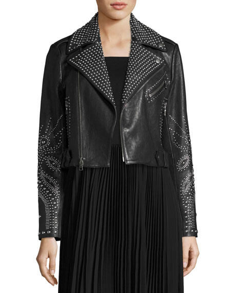 Cody Studded Lamb Leather Moto Jacket, Black
