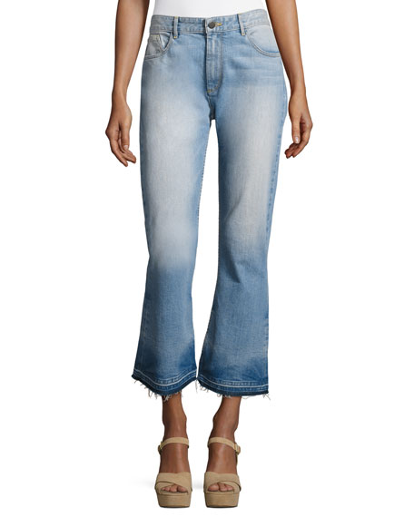 Tasha High-Waist Cropped Jeans with Released Hem, Light