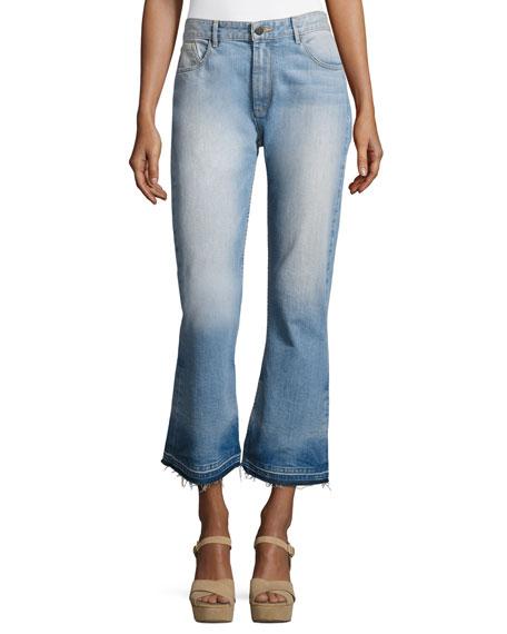 Tasha High-Waist Cropped Jeans with Released Hem, Light Blue