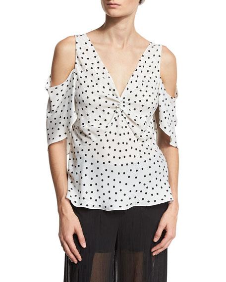 Polka-Dot Chiffon Cold-Shoulder Top, Ivory