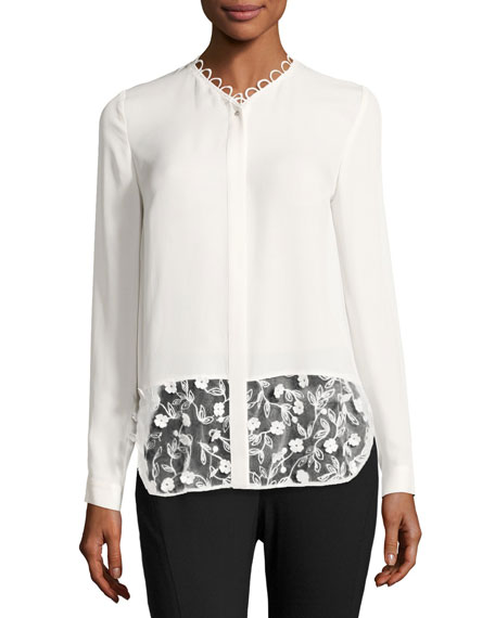 Constance Lace-Panel Button-Front Silk Blouse, Ivory