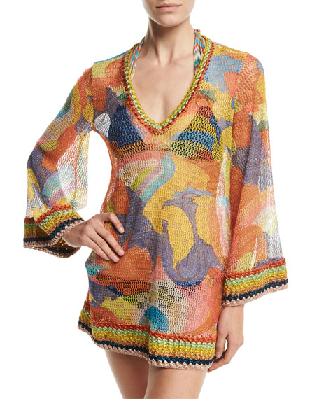 Paisley Bell-Sleeve Tunic Coverup