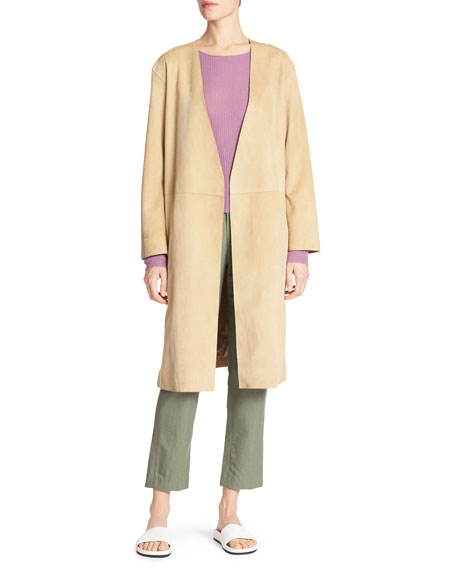 Lamb Suede Robe Coat