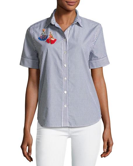 Evie Embroidered Dancers Shirt, Menswear Stripe