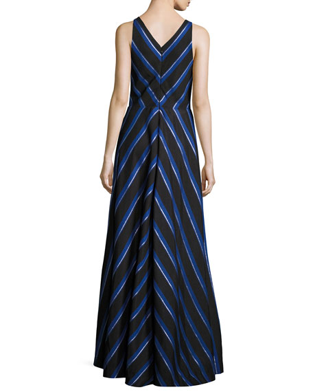 Sleeveless Striped Ball Gown