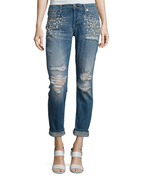 7 For All Mankind Josephina Distressed Boyfriend Jeans