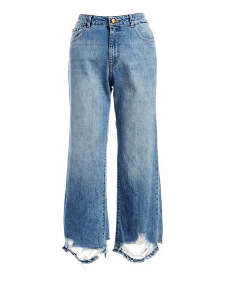 Hepburn High-Rise Wide-Leg Jeans with Shredded Hem, Slate