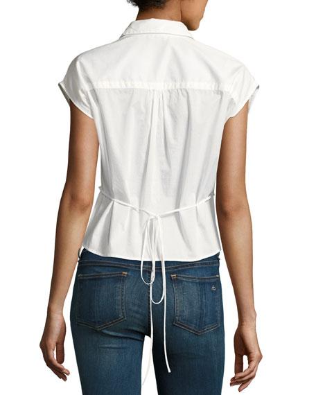 Stevie Short-Sleeve Bib Shirt, Bright White