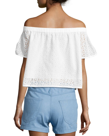 cba67cf0617137 Rag   Bone Flavia Eyelet Lace Off-the-Shoulder Short-Sleeve Top