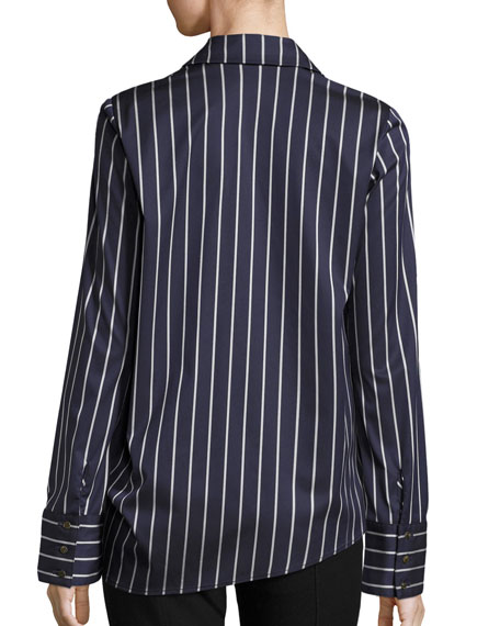 Koda Striped Tie-Side Shirt, Navy