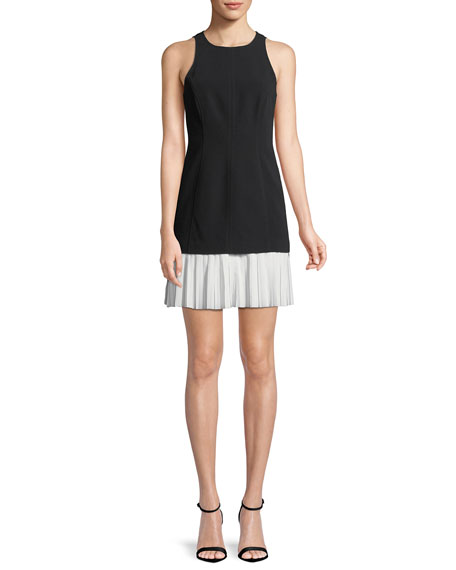 Catriona Sleeveless Pleated-Skirt Dress, Black