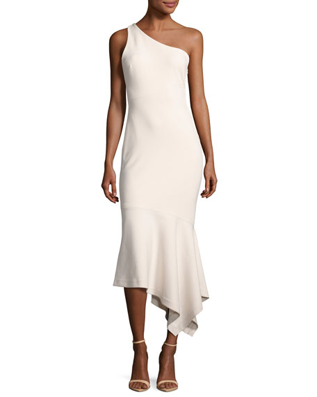 Dulcina One-Shoulder Handkerchief-Hem Midi Dress, Cinq Pink