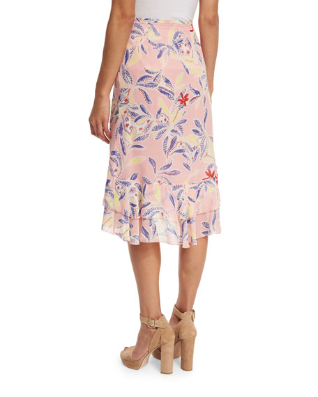 Tiered Floral Silk Skirt, Multicolor