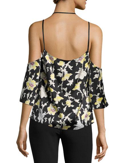 Rayna Floral Cold-Shoulder Top, Green/Black