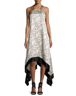 Somiya Sleeveless Handkerchief-Hem Dress, Black/White
