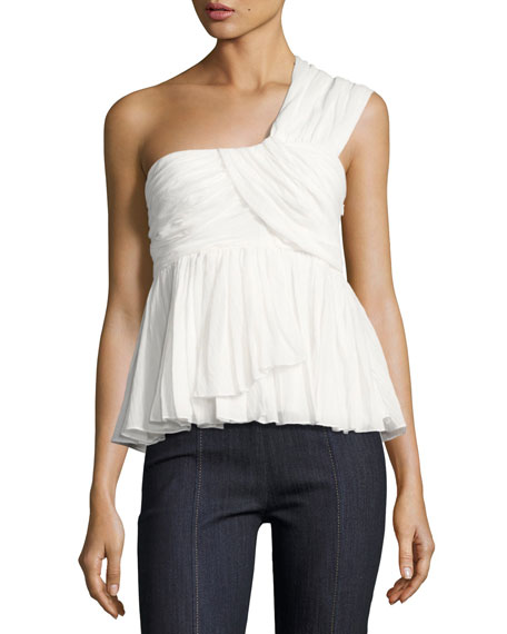 cinq a sept Draven Draped One-Shoulder Top, White