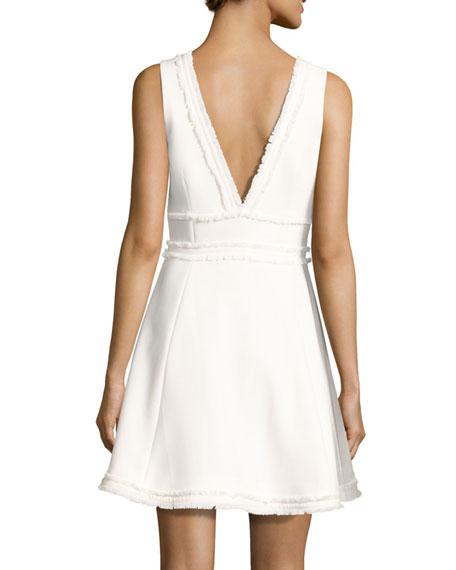 Aurora Fringe-Trim V-Neck Fit & Flare Dress, Ivory